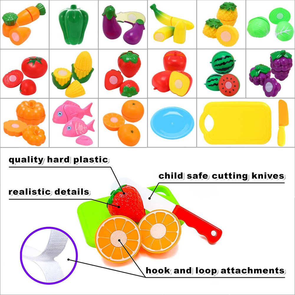 Kimicare Kitchen Toys Fun Cutting Fruits Vegetables Pretend Food Playset for Children Girls Boys Educational Early Age Basic Skills Development 24pcs Set, Multicolors by Kimicare (Image #3)
