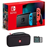 Nintendo Switch Bundle w/Case & SD Card: Nintendo Switch 32GB Console with Neon Red and Blue Joy-Con, Mazery SD Card & Travel