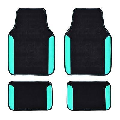CAR PASS Rainbow Waterproof Universal Fit Car Floor Mats, Fit for SUV,Vans,sedans, Trucks,Set of 4(Black with Mint): Automotive