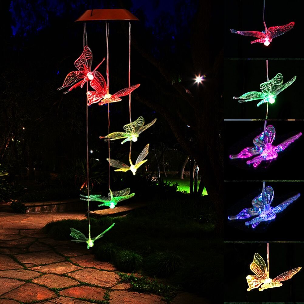 HOPESOOKY Outdoor Windlights Solar Mobile Powered LED Changing Light Color Wind Chimes for Outdoor Garden Décor Christmas (Butterfly)