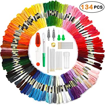 Embroidery Floss Embroidery Thread Premium Rainbow Color with Sewing Needles Kit Cross Stitch Threads Bracelets Floss Crafts Floss Hand Sewing Needle Threaders Set for Crafter Lover 50 Colors