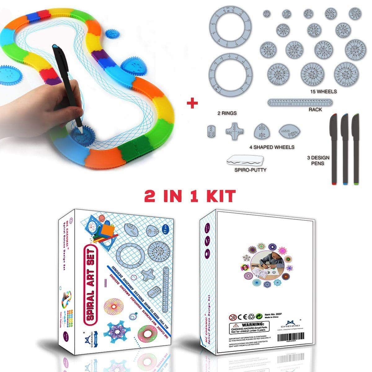 MC CHENMEI 2 IN 1 Spirograph Deluxe Set 2 Typ Classic Spiral Design Drawing Set für Kinder B07FVL6D6F | Smart