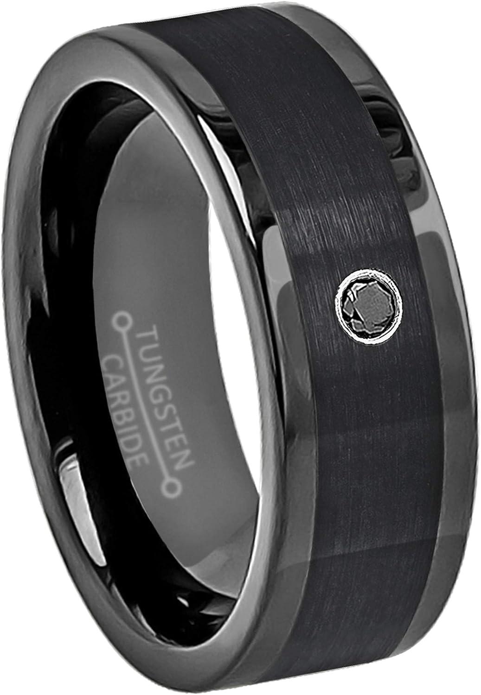 Black Diamond Wedding Band,Black Diamond Wedding Ring,8mm,Black Tungsten Ring,Anniversary Band,Engagement Ring,Custom Tungsten Ring