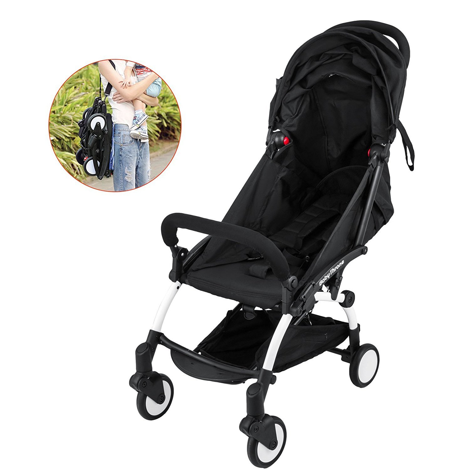 Mophorn Mini Folding Baby Stroller 2 in 1 Lightweight for 6 Month and Up to 15KG Baby Travel System Stroller Small Pushchair 360 Degree Swivel Front Wheel Strollers with 5-Point Lock Mini Stroller