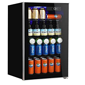 Beverage Refrigerator and Cooler,113 Can or 60 Bottles Capacity with Glass Door for Soda Beer or Wine