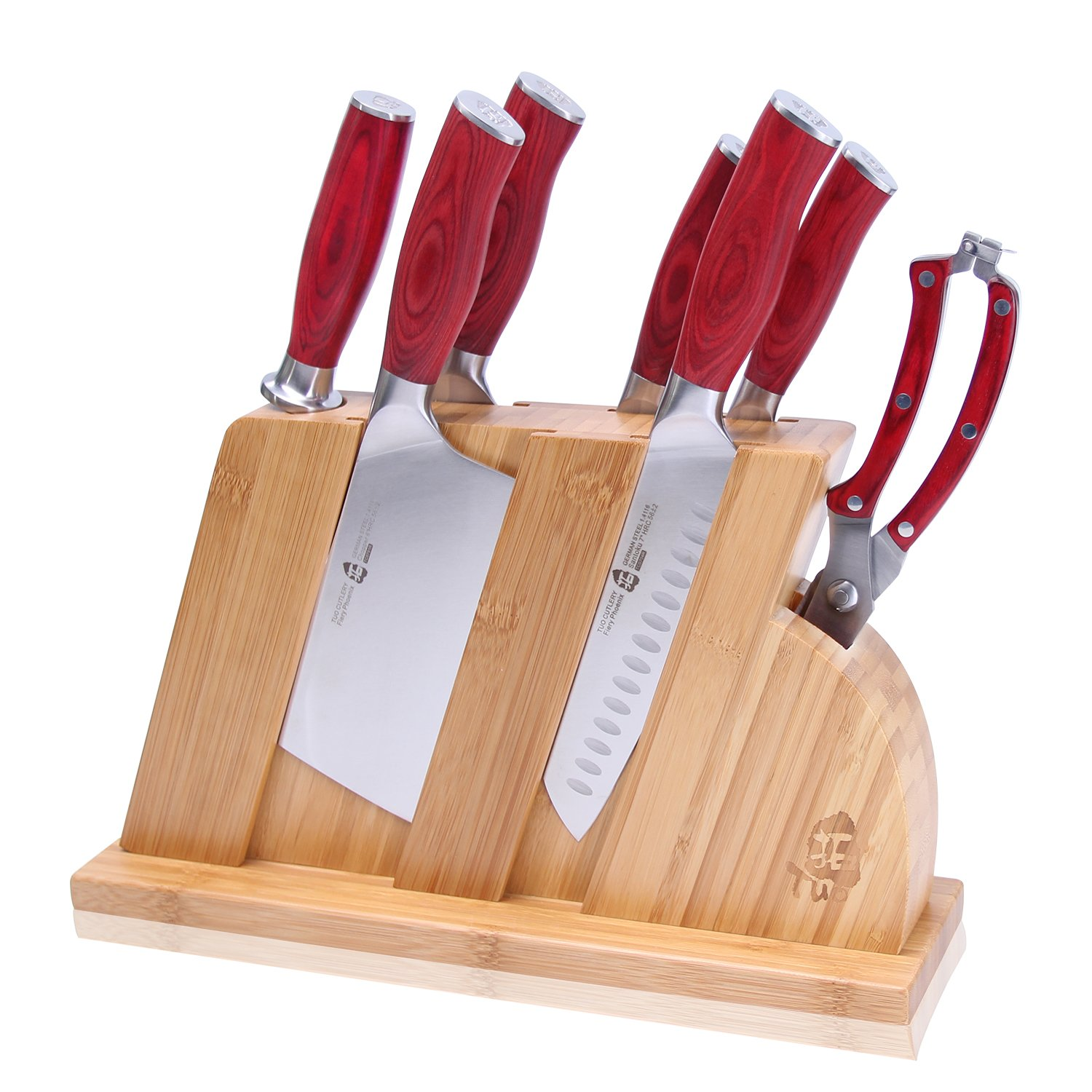 TUO Cutlery Fiery-R Series HC German Stainless Steel Kitchen Block Red Knife Set 8 PCS - Chef, Chopper, Utility, Paring, Santoku, Honing Steel, Shears and Knife Block with Pakkawood Handle