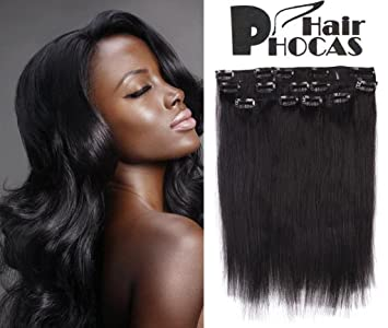 Hairphocas Fashion African American 16 Inch Clip In Remy Human Hair Extensions 1b Natural Black