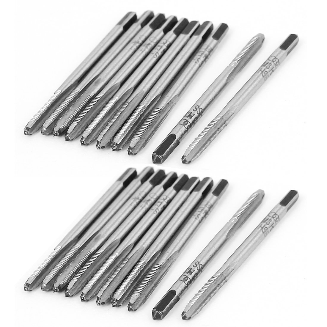 uxcell M4 x 0.7 Metric SKS2 Straight 3 Flutes Bottoming Taper Hand Taps Set 3 Pcs