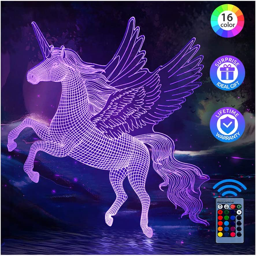 Amazon Com Pastaco Unicorns Gifts For Girls Unicorn Night Lights For Girls Room 16 Colors Changing Dimmable Led Bedside Lamp For Girls Bedroom With Remote Touch Unicorn Toys For Girls Kids Birthday Home