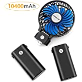 OPOLAR 10400mAh Battery Operated Fan, Portable Handheld Fan with 10-40 Hours Working Time,3 Setting, Strong Wind,Foldable Design, for Travel,Camping and Outdoor Activities