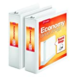 """Cardinal Economy 3"""" Round-Ring View Binders, 3-Ring Binder, Holds 625 Sheets, Nonstick Poly Material, PVC-Free, White, 2-Pack (79530)"""