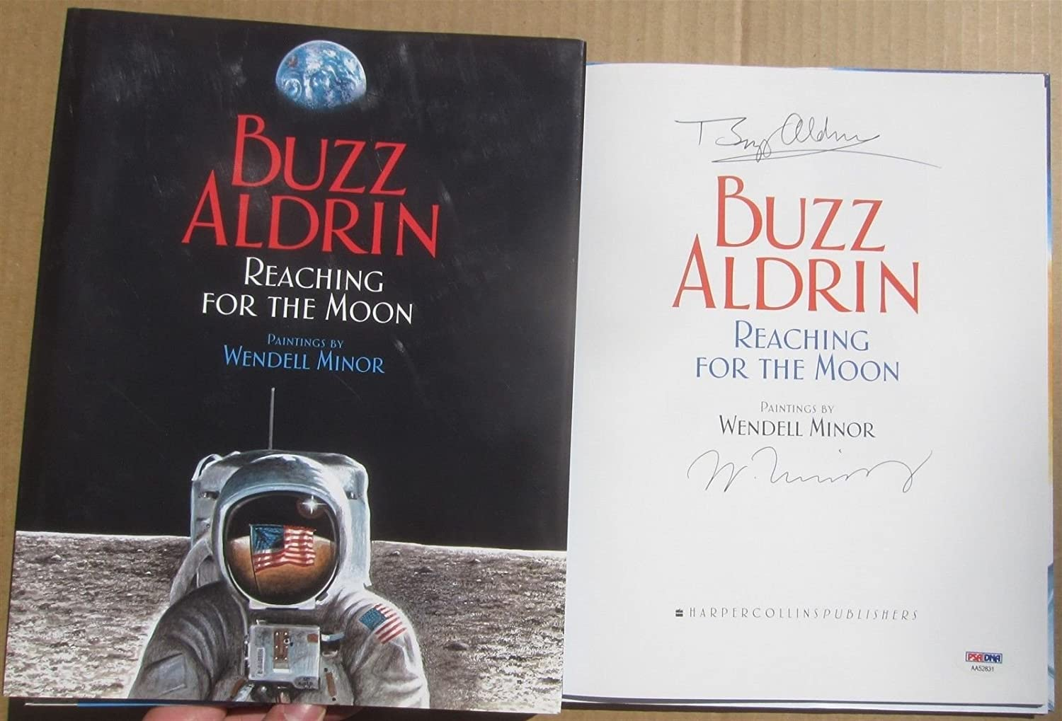 Buzz Aldrin signed Book Reaching for the Moon Apollo 11 Astronaut PSA/DNA