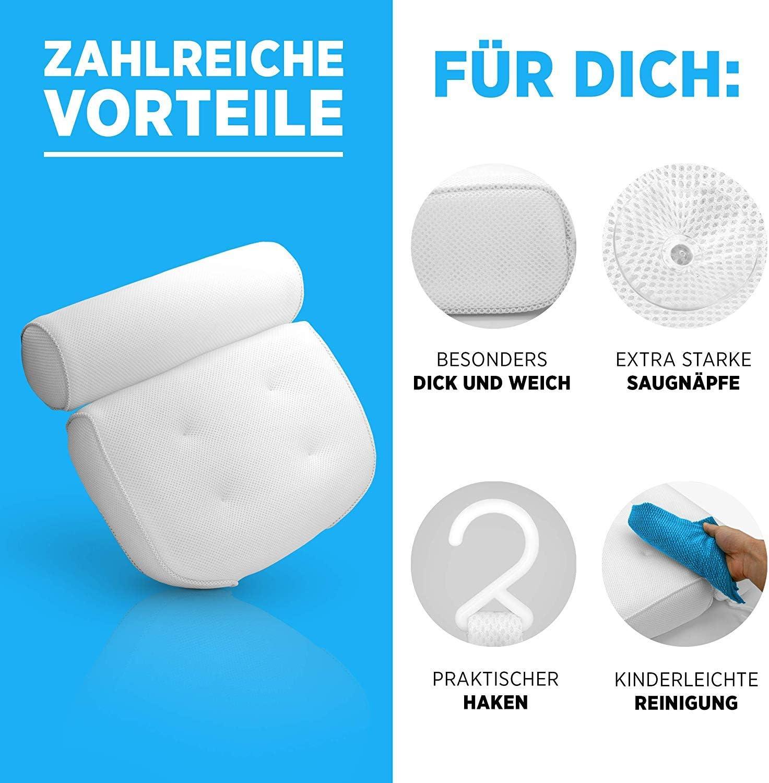 Innovatives geruchsneutrales Material Zuverl/ässiger Halt Dank starken Saugn/äpfen H/öchster Komfort Dank optimaler Form Mit praktischem Haken zum Aufh/ängen nobrand Premium Badewannenkissen
