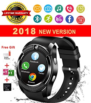 Reloj Inteligente Bluetooth, Smartwatch Pantalla Táctil Impermeable Smart Watch con Camara, SIM/TF Ranura Whatsapp Sports Podómetro Reloj Bracelet para ...