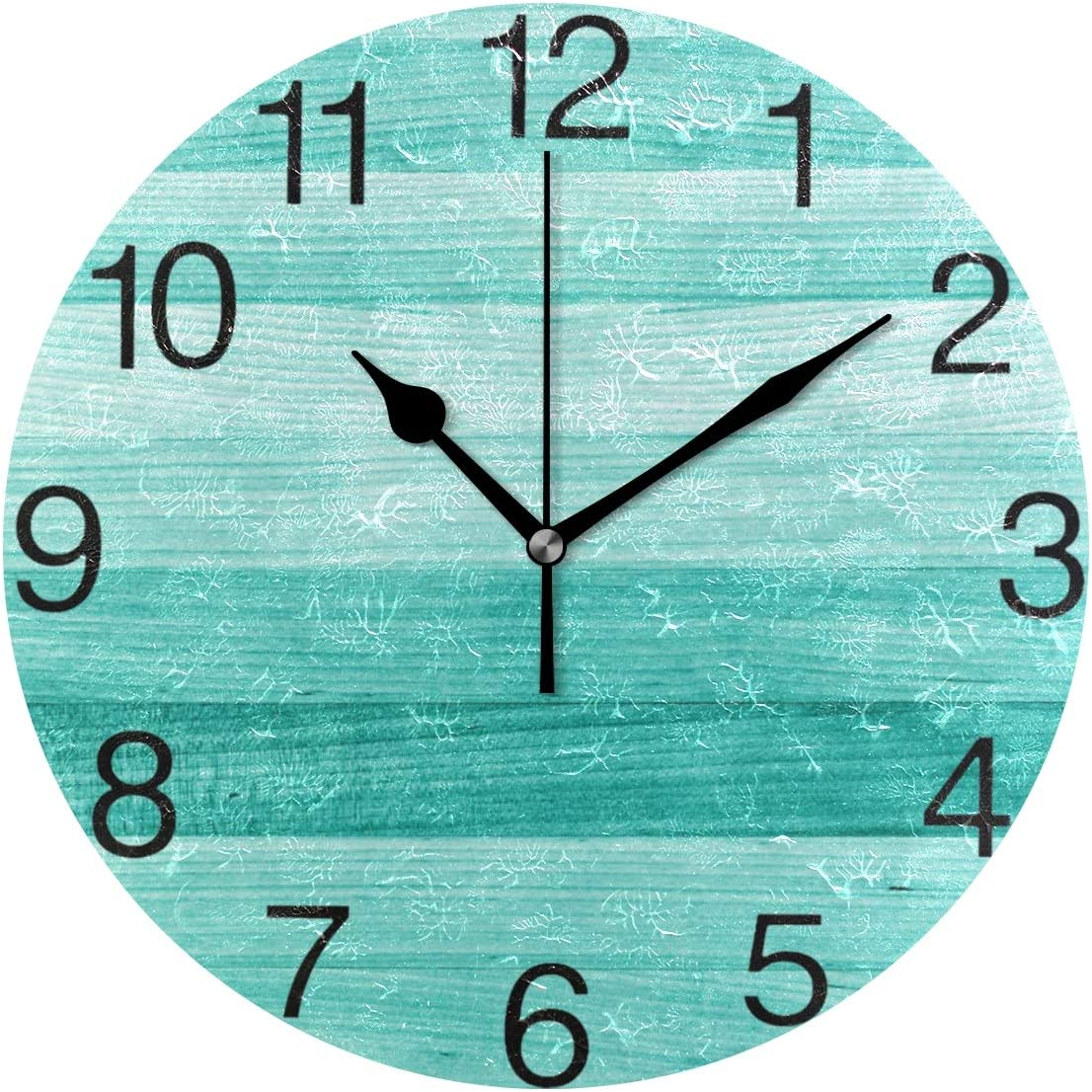 senya Teal Turquoise Green Wood Round Wall Clock, Silent Non Ticking Oil Painting Decorative for Home Office School Clock Art