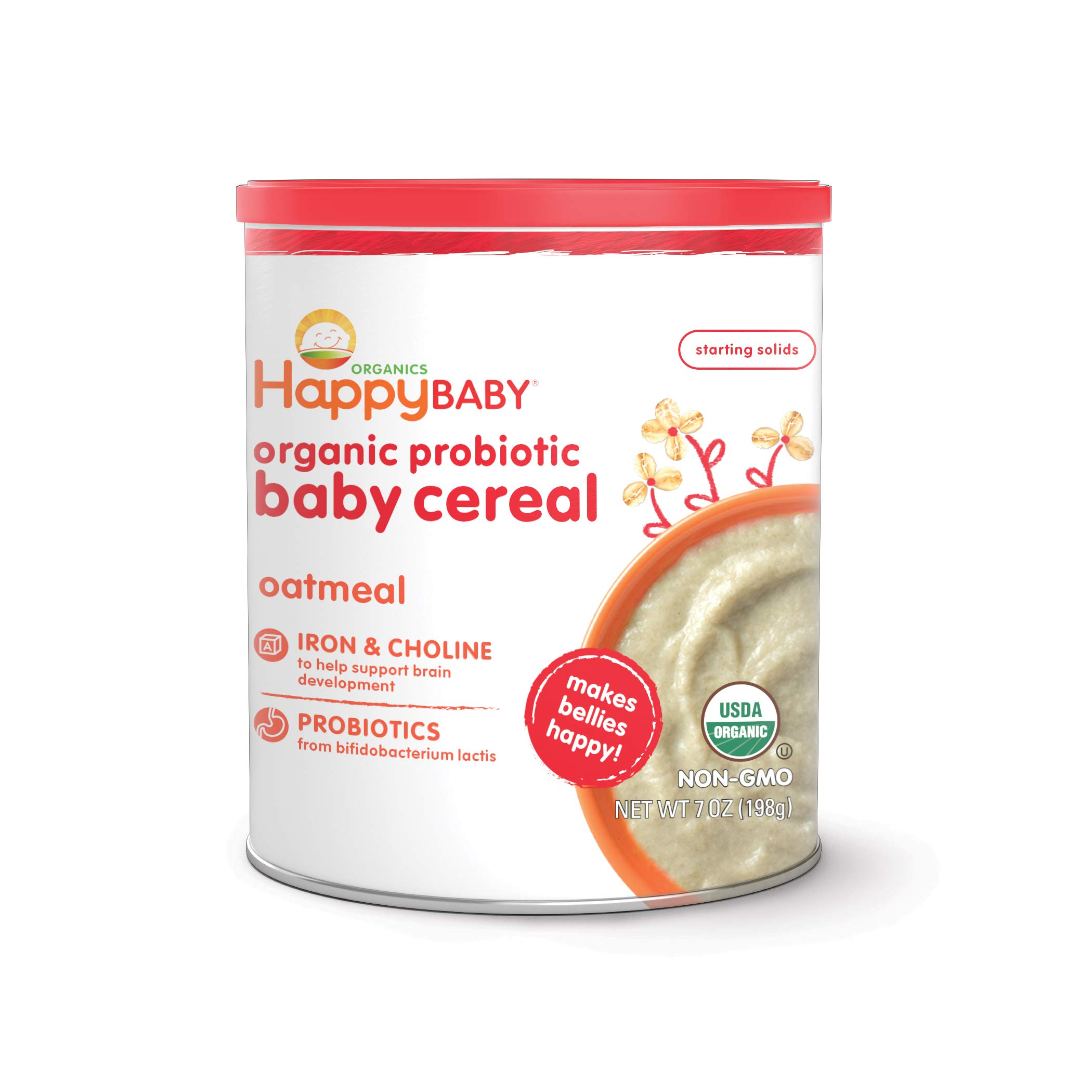 Happy Baby Organic Probiotic Baby Cereal with Choline Oatmeal, 7 Ounce Canister (Pack of 6) Organic Baby Cereal with Iron & Choline to Support Baby's Brain Development (Packaging may vary) by Happy Baby