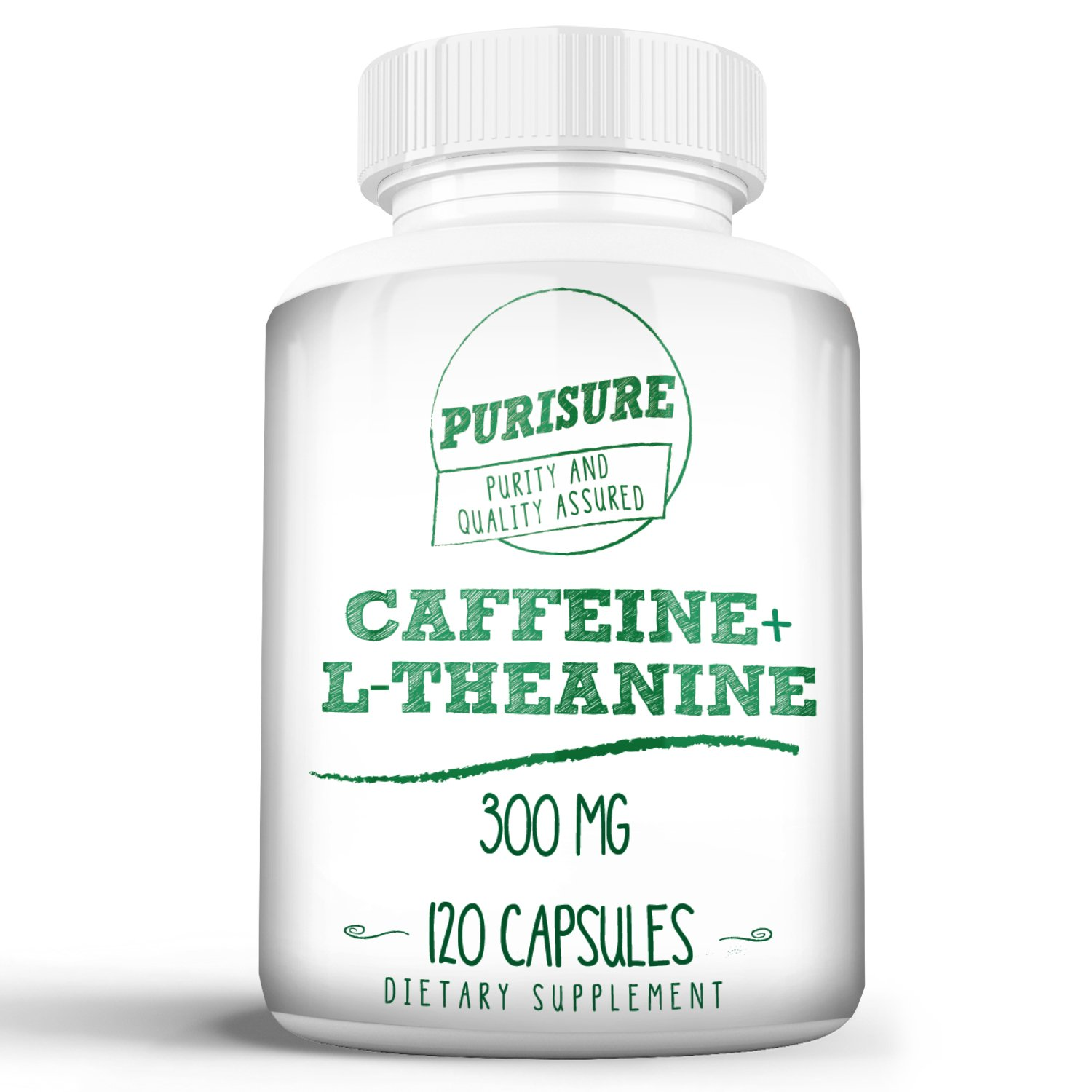 Caffeine + L-Theanine 300 mg (120 Capsules) | No Crash or Jitters | Alert and Productive | Calm and Relaxed | Nootropic Supplement (120 Capsules)