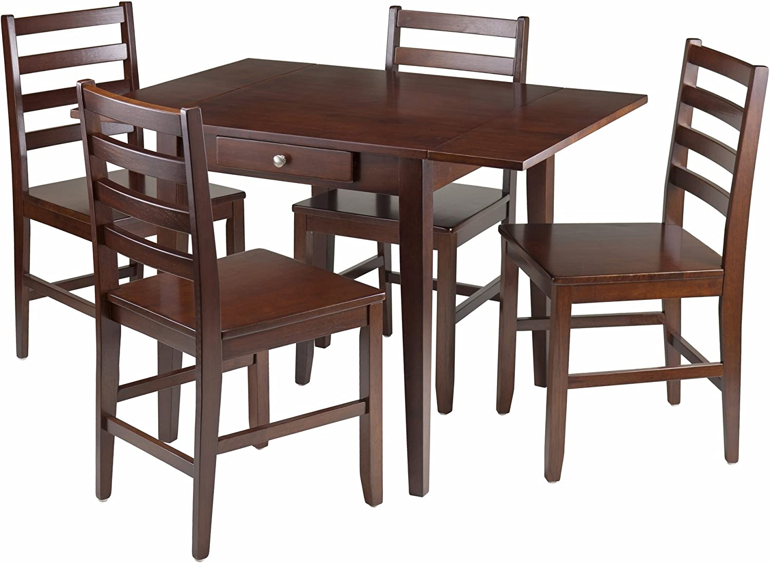 Winsome Wood Hamilton 5 Piece Drop Leaf Dining Table With 4 Ladder Back Chair Table Chair Sets