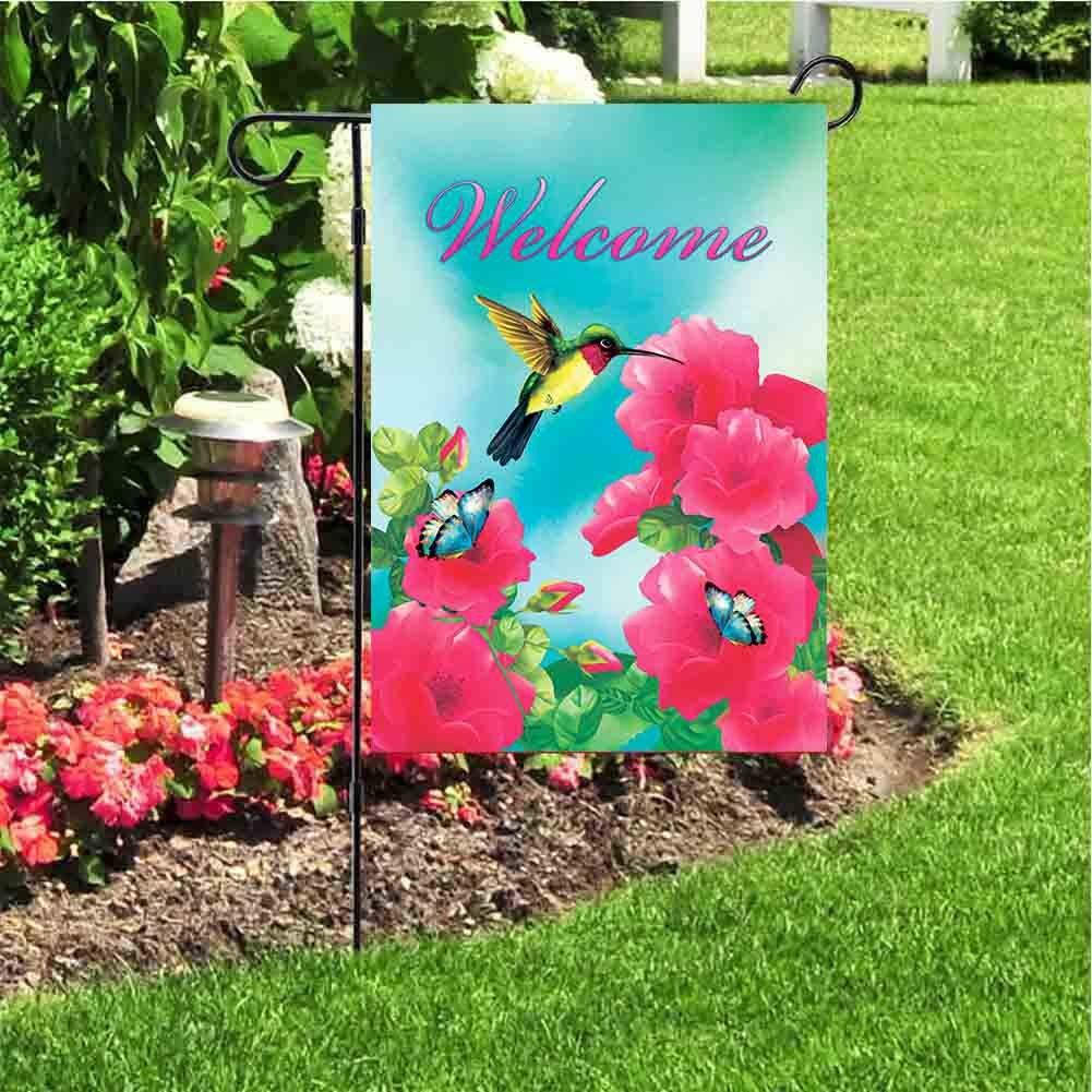 JoyPlus Welcome hummingbird Butterfly Bird& Flower Garden Flag ...