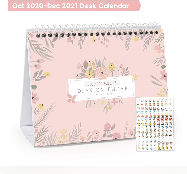 "Mokani Small Desk Calendar Oct. 2020 - Dec. 2021 (8""x6""), Mini Monthly Desktop Calendar, Academic Year Standing Desk Calendars (15 Months) with Bonus Planner Stickers"