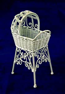 Vanity Fair Dolls House Miniature Nursery Furniture White Wire Wrought Iron High Cradle Crib
