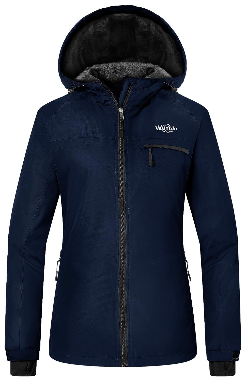 Wantdo Damen Berg ski-Jacke Winddichte fleeceschneemantel regenkleidung wasserdicht mit Kapuze Warmer Parka
