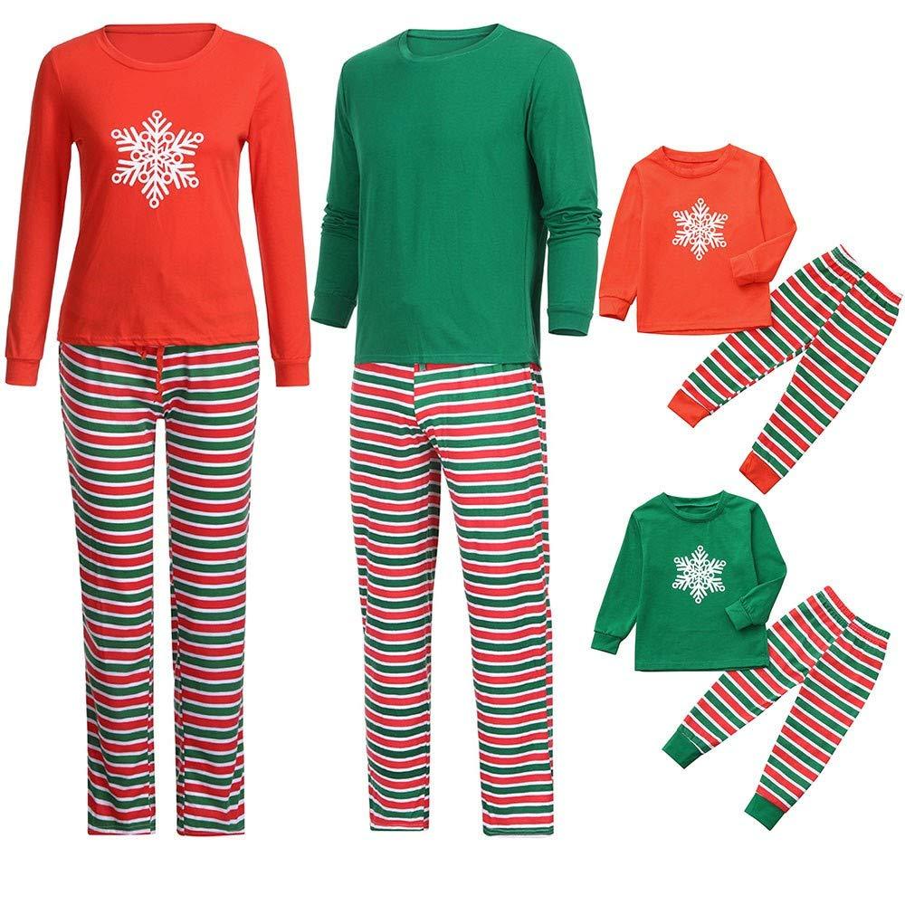 Lurryly❤Family Matching Christmas Pajamas Set Outfits Snowflake Top+Stripe Pants Sleepwear Pjs