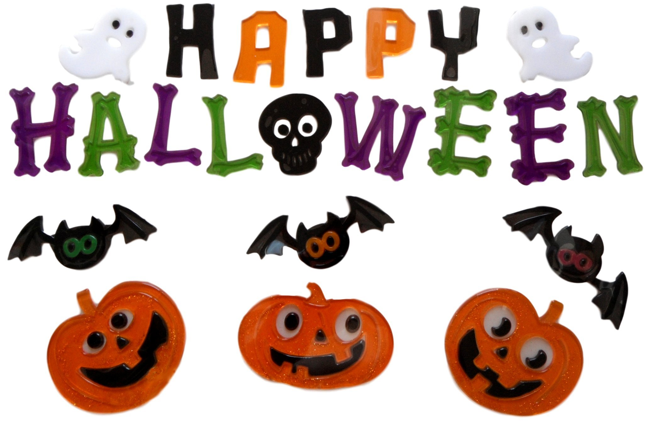 Halloween Gel Clings Window Decorations (Happy Halloween - Bats, Pumpkins, and Ghosts)