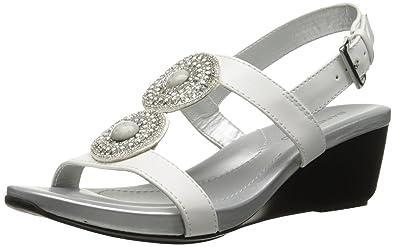 Bandolino Women's Heelda Synthetic Wedge Sandal, White, ...