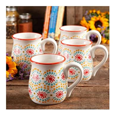 The Pioneer Woman Flea Market 18 oz Decorated Belly Mugs, Multi Burst Red, Set of 4