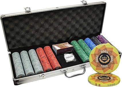 Amazon Com Mrc 500pcs Laurel Crown Ceramic Poker Chips Set With Aluminum Case Sports Outdoors