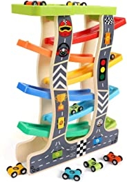 Lewo Toddler Toys Wooden Ramp Racer for Girls Boys Wood Race Track with 8 Mini Cars