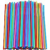 "200 Pcs Colorful Plastic Long Flexible Straws.(0.23'' diameter and 10.2"" long)"
