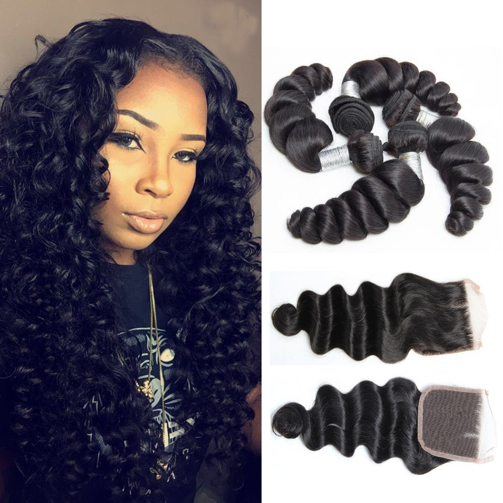 Amazon Guangxun Hair 7a Loose Wave 4 Bundles With Free Part