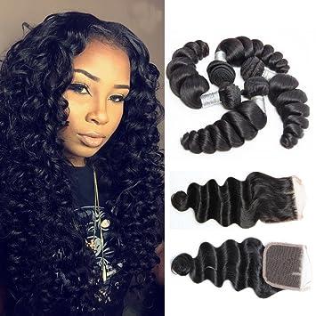 Amazon guangxun hair 7a loose wave 4 bundles with free part guangxun hair 7a loose wave 4 bundles with free part lace closure brazilian virgin hair unprocessed pmusecretfo Image collections