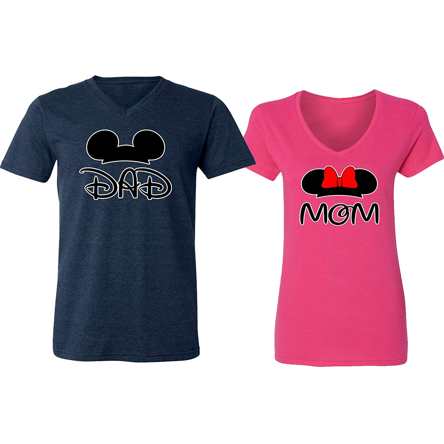e0ae2cae Amazon.com: GOOD SHOPPERS ACTIVEWEAR Mickey Dad Minnie Mouse Mom Family  Couple Design V-Neck Shirt for Men Women: Clothing