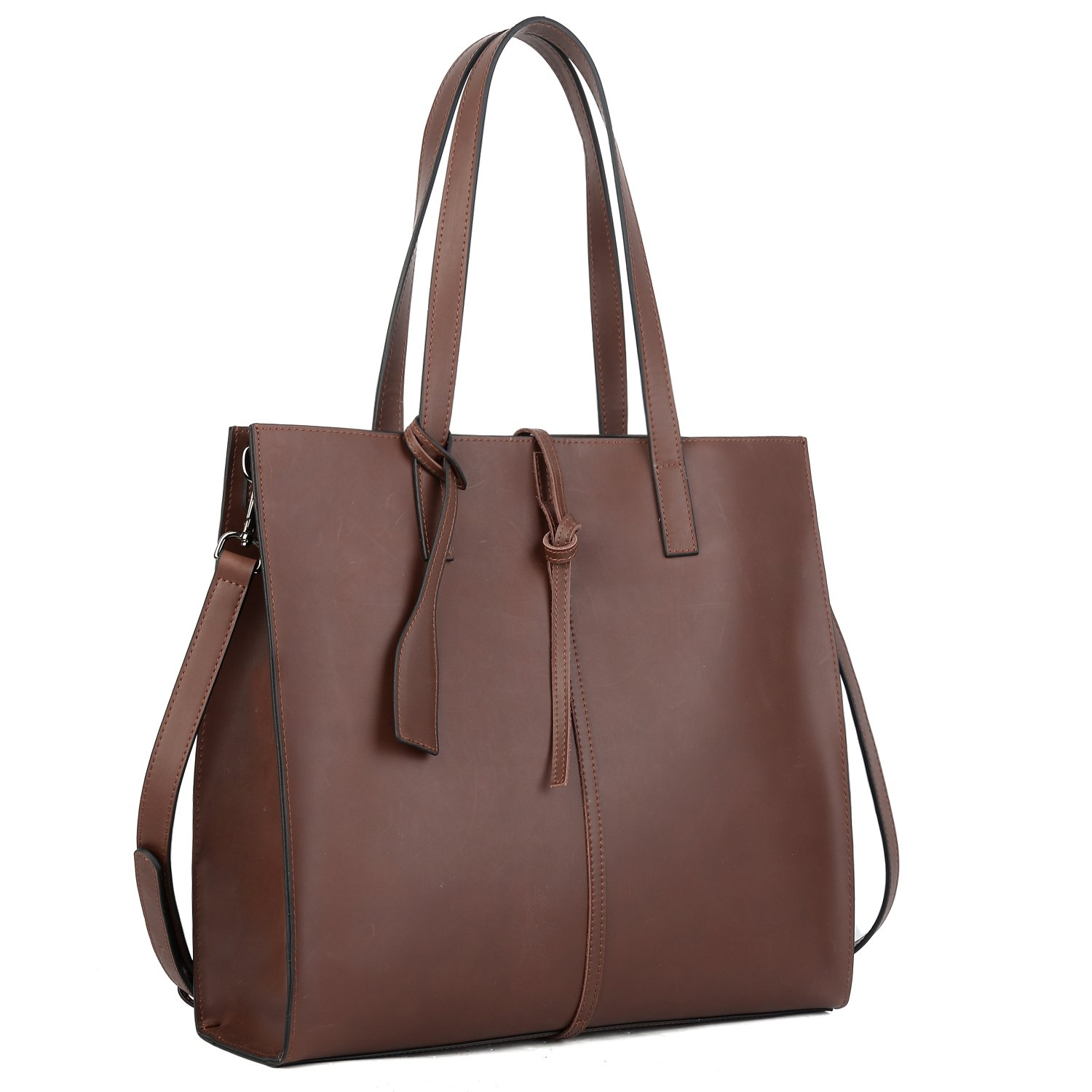 YALUXE Women's Vintage Style Crazy Horse Leather Tote Shoulder Bag Brown
