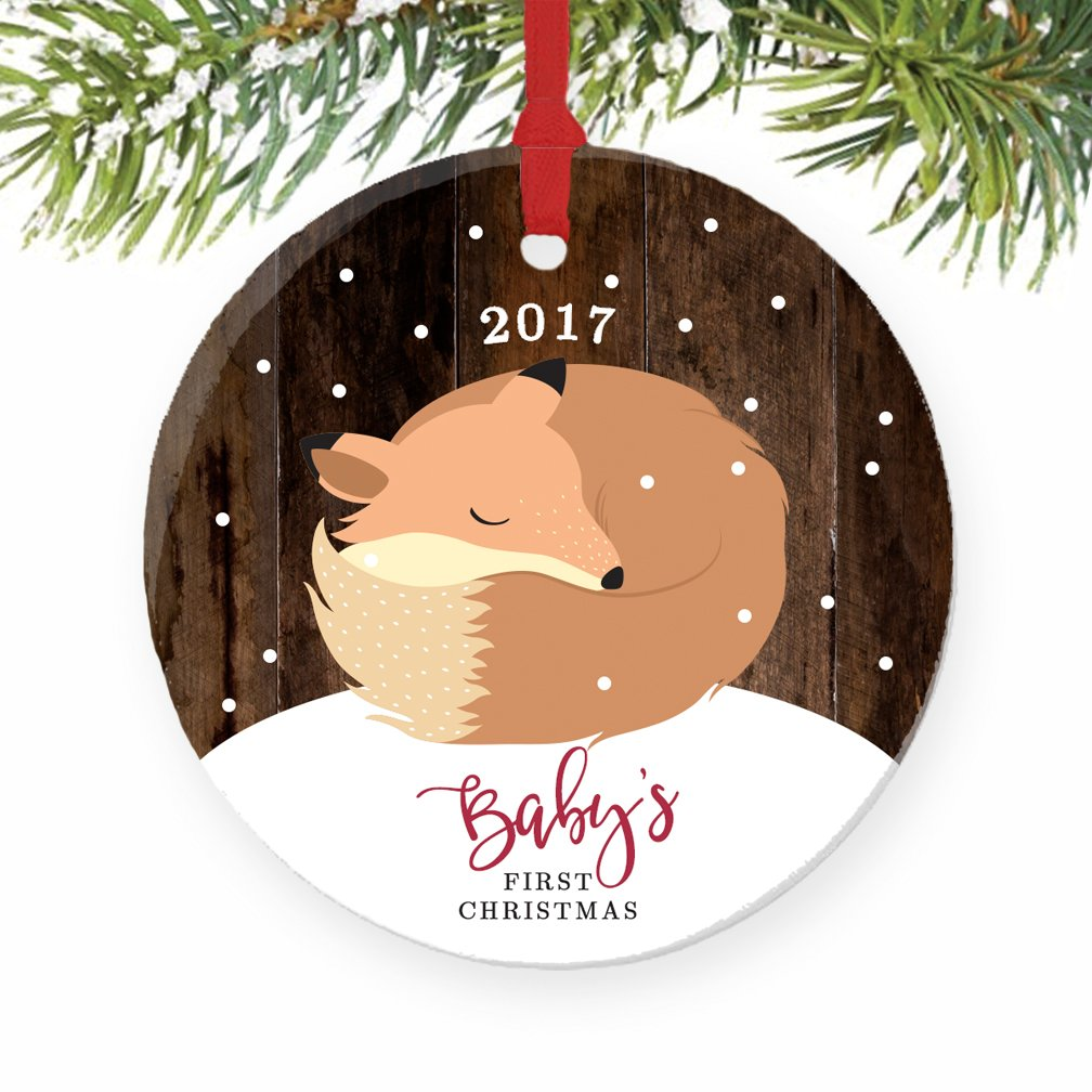 Amazon: Fox Baby's First Christmas Ornament 2017, Baby Fox 1st Christmas  Porcelain Ornament, Woodland Animal 3