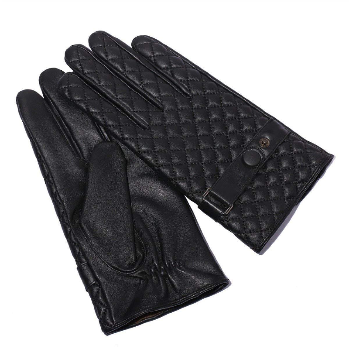 CWJ Men Touch Screen Gloves Diamond-Shaped Lattice Drive Thick Warm,Black,Large