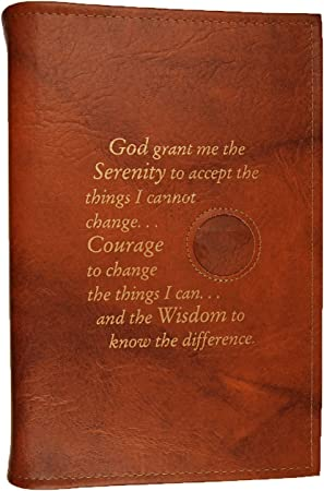 Amazon Com Culver Enterprises Alcoholics Anonymous Aa Big Book Large Print Cover Serenity Prayer Medallion Holder Tan Office Products