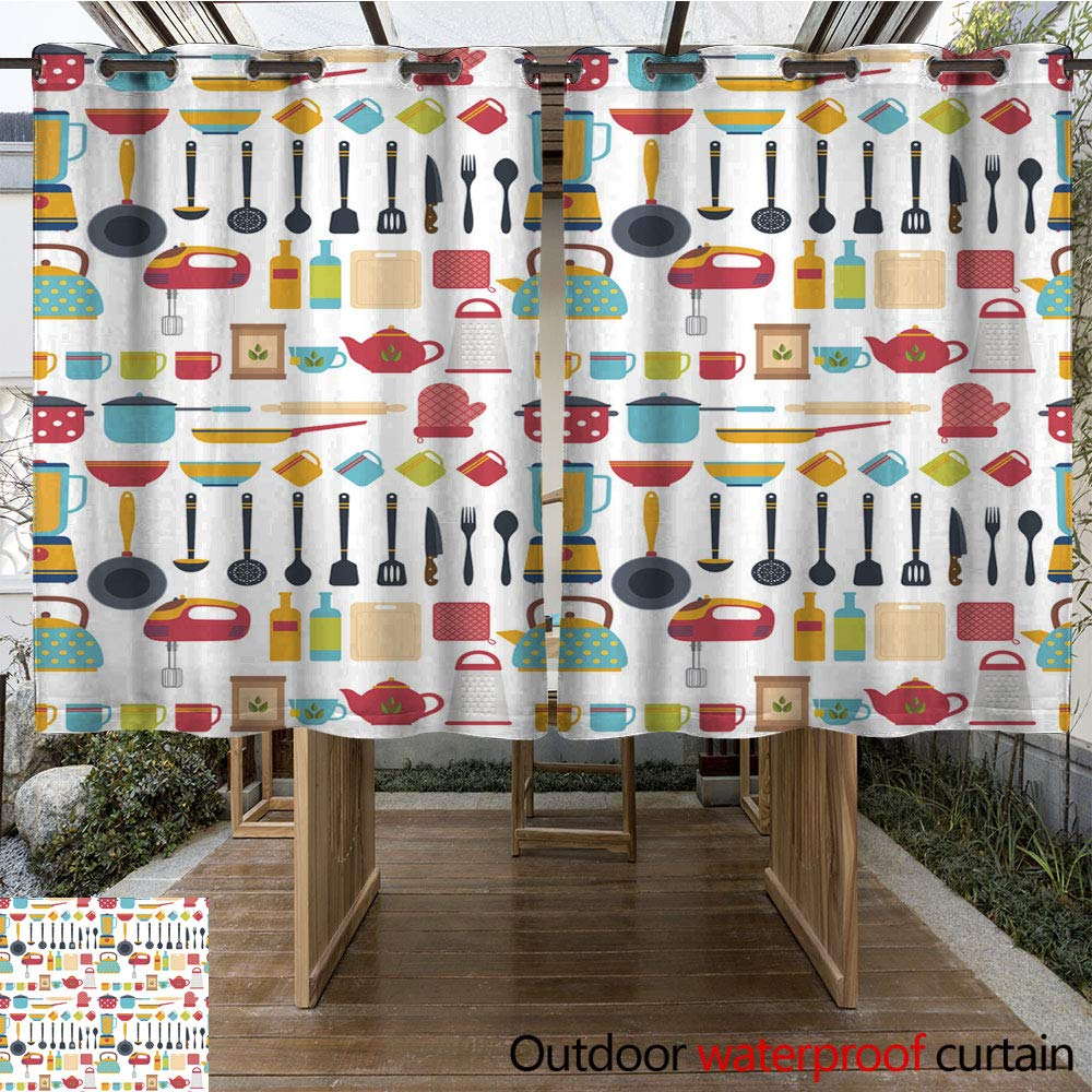 WinfreyDecor Home Patio Outdoor Curtain Seamless Pattern with Kitchen Utensils Home appliances W55 x L72