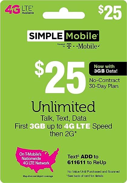 SIMPLE Mobile Refill Card - $25 ReUp Prepaid Airtime Card (Physical Card  Shipped)