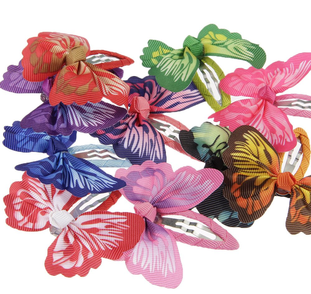 lovinglove Chiffon Flower Hair Bow Clips For Teens Toddlers Kids Children (10 Butterflies) by lovinglove (Image #2)