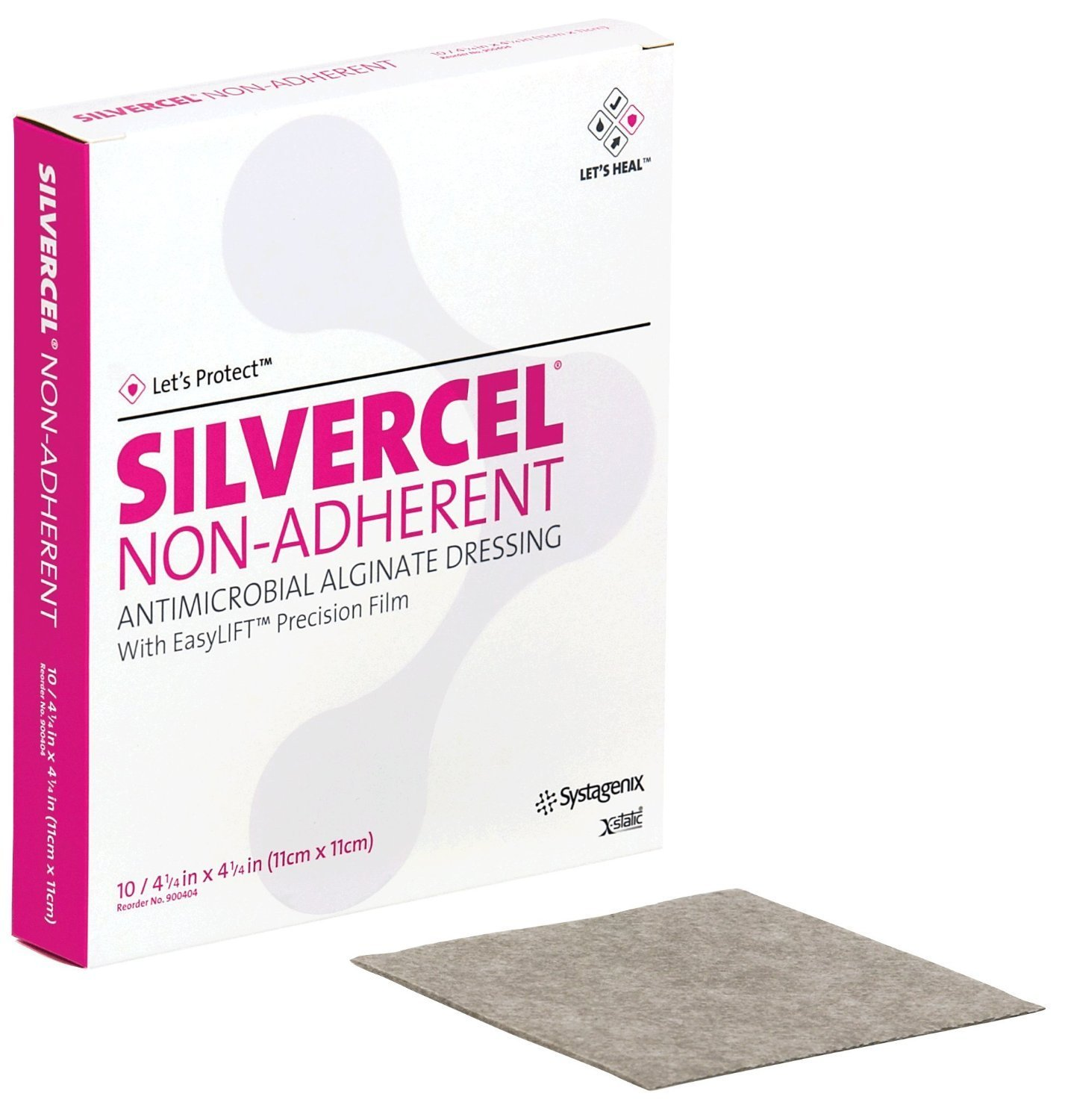 53900404 - Silvercel Non-Adherent Antimicrobial Alginate Dressing 4-1/4 x 4-1/4