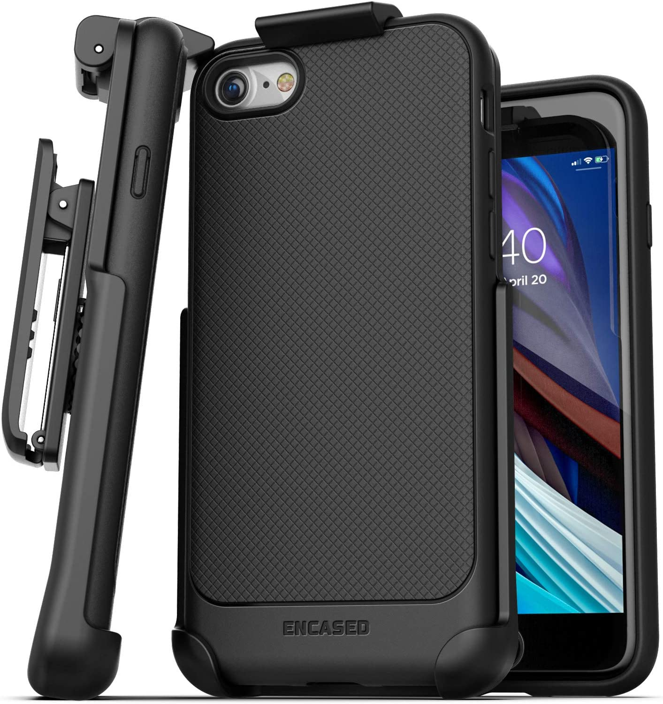 Encased iPhone SE Belt Clip Case (2020) Slim Grip Cover with Holster (Black)