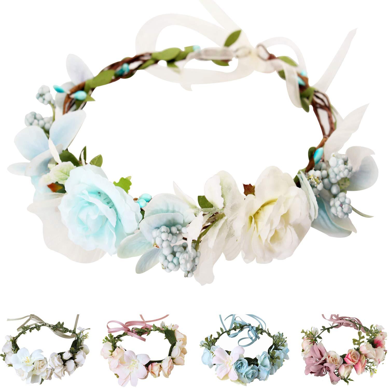 Handmade Adjustable Flower Wreath Headband Halo Floral Crown Garland Headpiece Wedding Festival Party (C1-Light Blue+White) by YnimioAOX