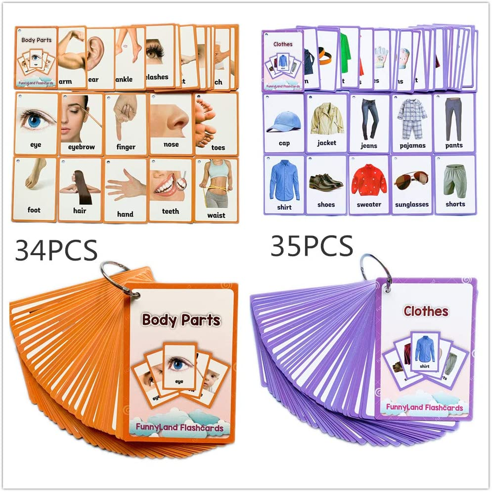23 First Words Flash Cards Set Clothes Picture /& Word Fun Cognition Cards