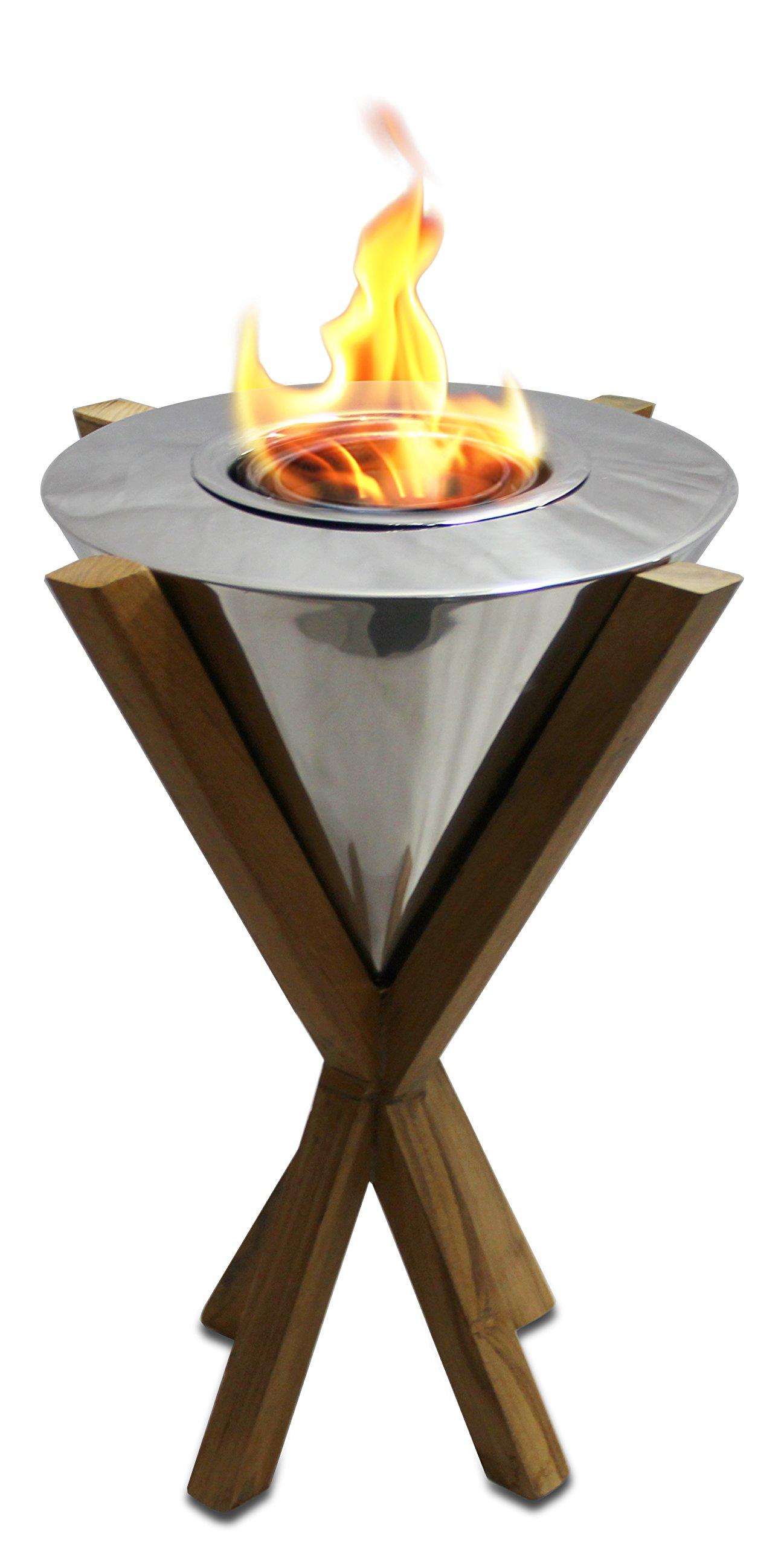 My Swanky Home Luxe Freestanding Modern Teak Wood Torch Light | 14'' Outdoor Flame Island Luxury