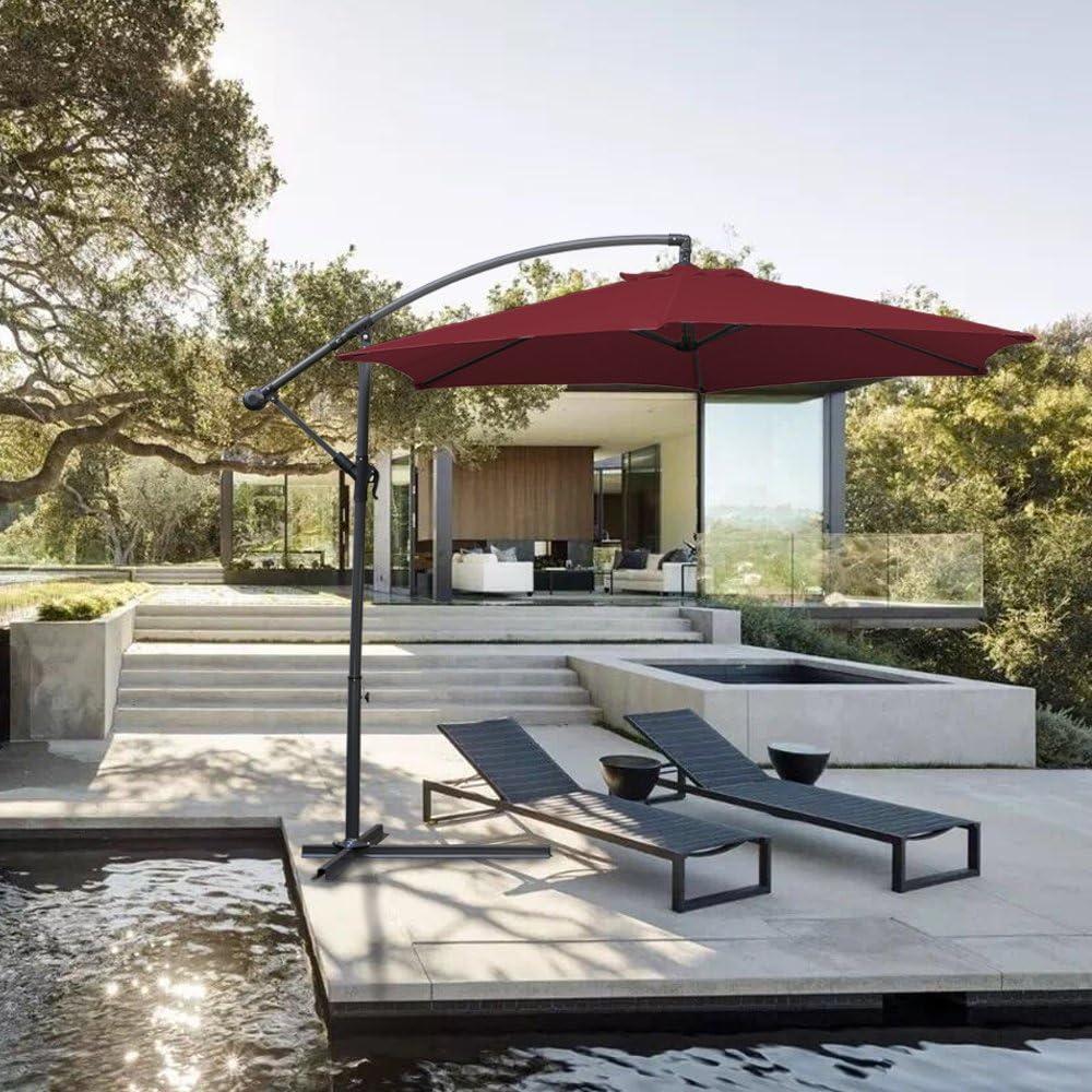 Hengda® Jardín Sombrilla Parasol Sombrilla de Terraz protección UV 3.5m Rojo con Manivela Para terraza jardín Playa Inclinable Camping: Amazon.es: Jardín