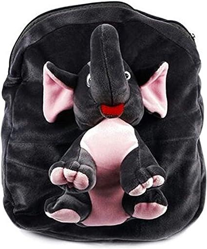 Himleyars Boys and Girls Fabric Cute Teddy Elephant Soft Toy School Bag Shoulder (Grey)